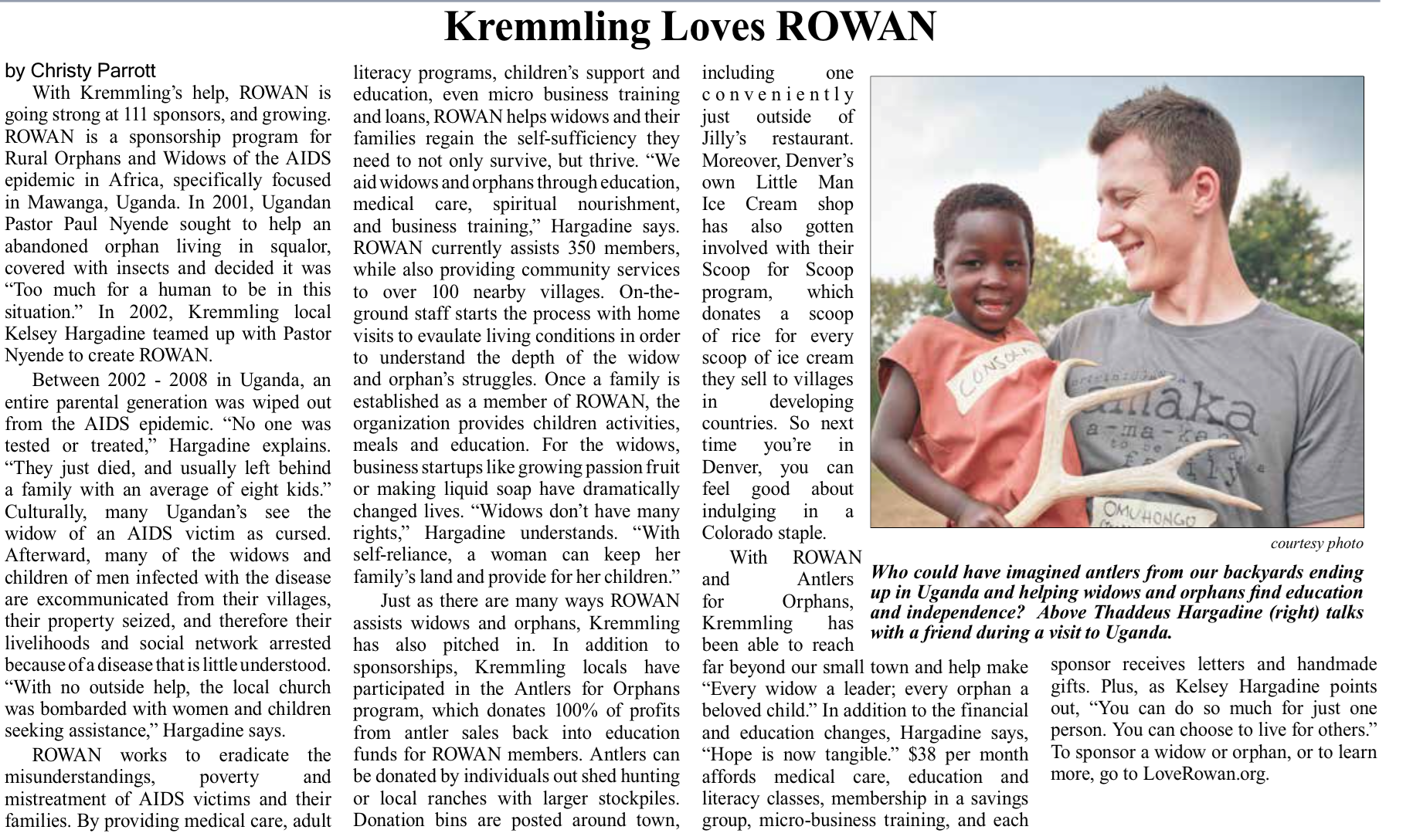 ROWAN newspaper clipping
