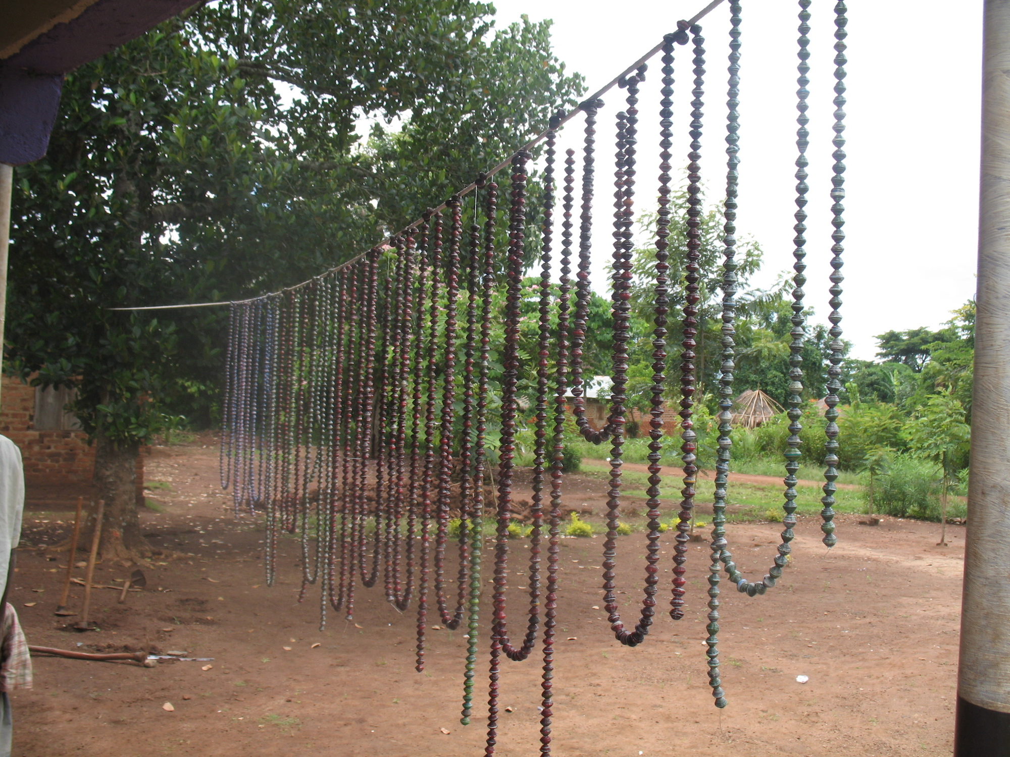 Strands of beads hanging