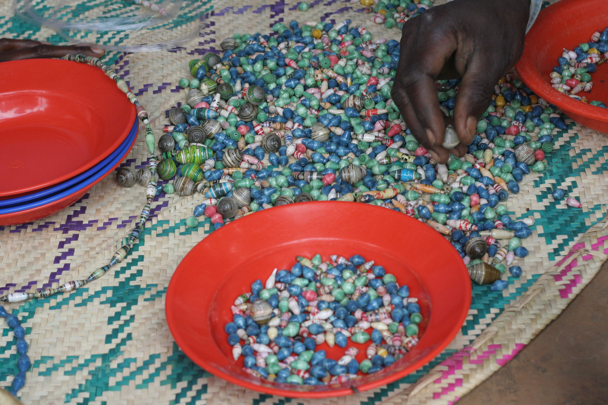 Beads piled on a blanket