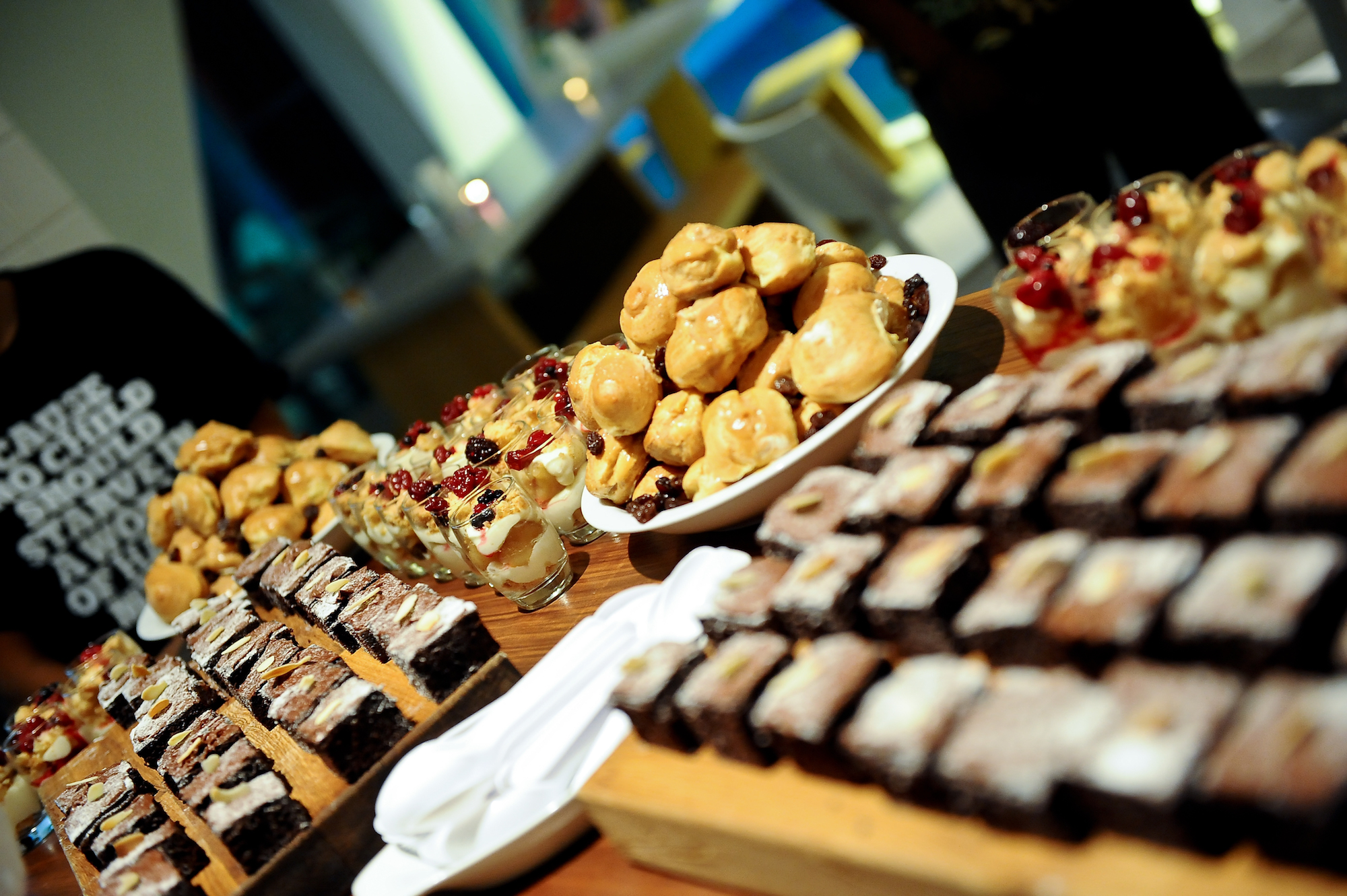 Close up of dessert table with pastries
