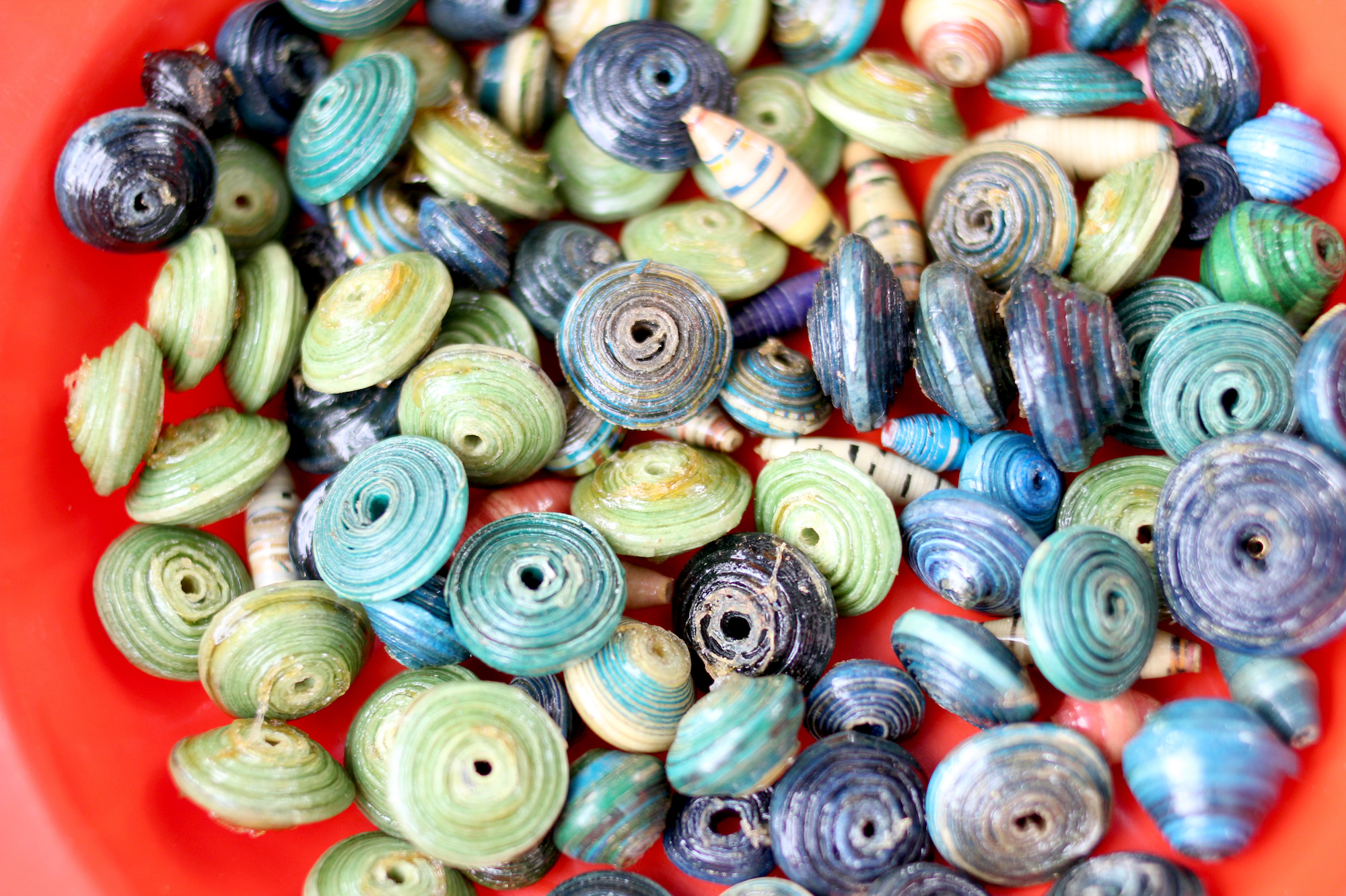 Close up of paper beads