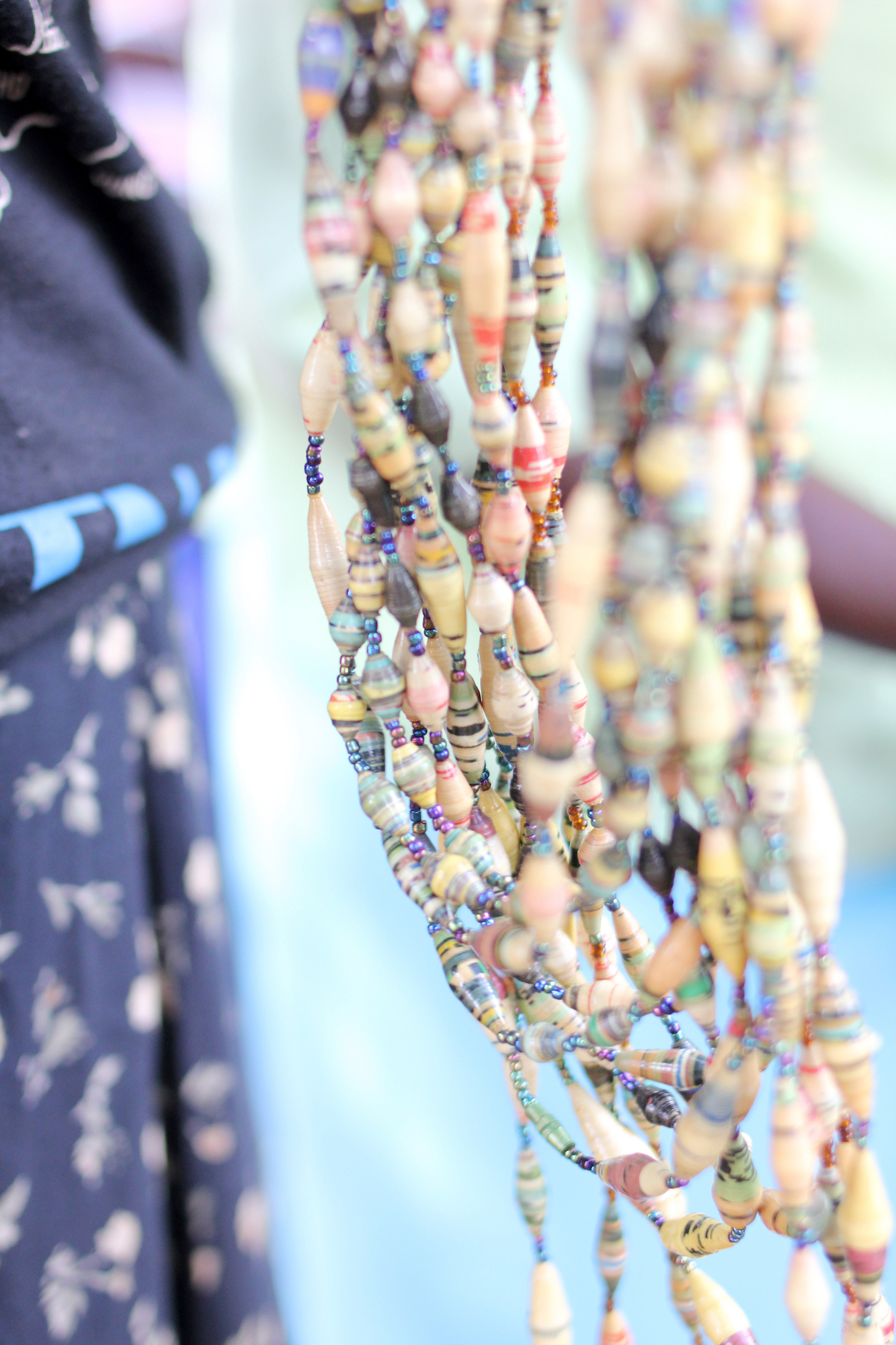 Close up of bead strands