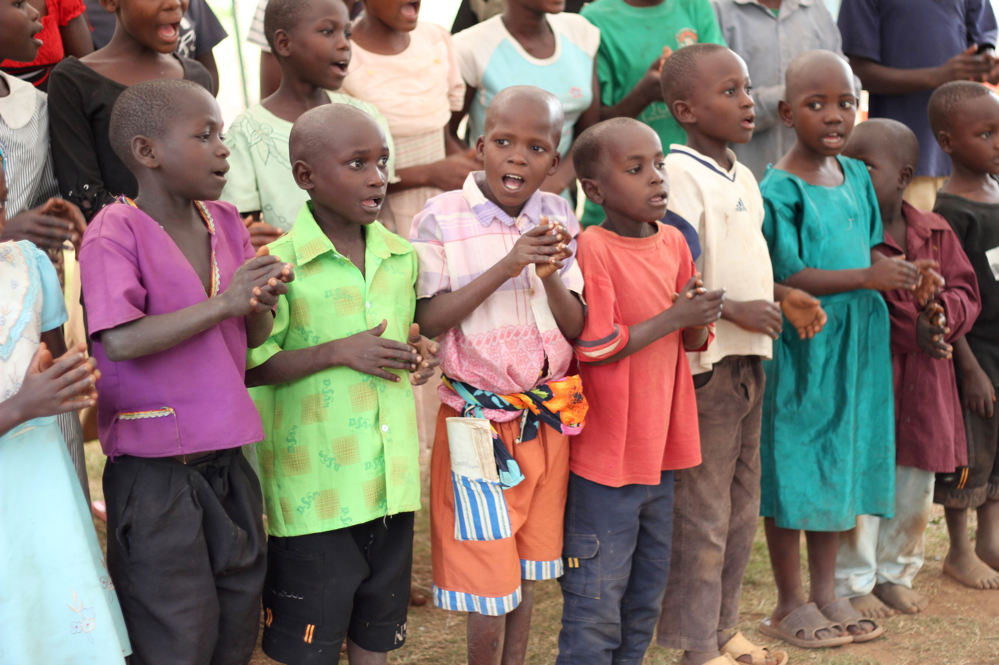 A group of singing children